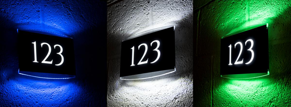 d0633e18473 Personalised LED illuminated house number signs and plaques and ...